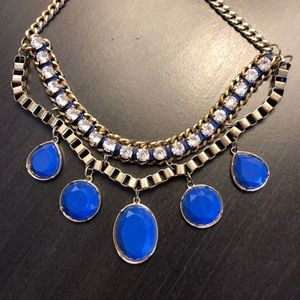 Like New Bold Blue & Gold Chain Statement Necklace